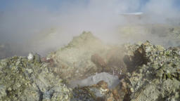 Fumarole volcanic boiling mud pot, sulfur hot springs Footage