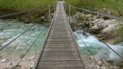 View of bridge over Soca River, Slovenia Footage