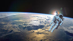 Astronaut in outer space against the backdrop of the planet earth. Elements of Animation