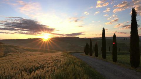 Tuscany hills landscape at sunrise, Italy Footage