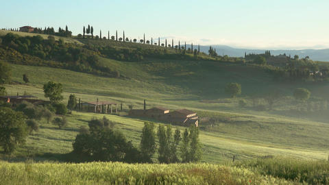 Tuscany sunrise with farm house and hills Footage