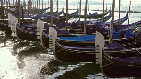 Traditional Gondolas on Canal Grande in Venice Footage