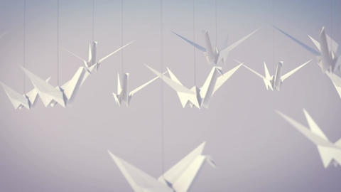 Flying White Paper Cranes Animation