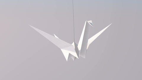 One White Paper Crane Animation