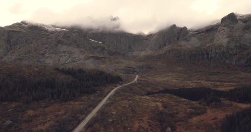 Beautiful aerial view of road and mountains Archivo