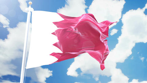 Realistic flag of Bahrain waving against time-lapse clouds background. Seamless Animation