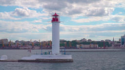 Lighthouse and sea, Odessa view from the sea to the city ビデオ