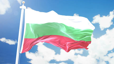 Realistic flag of Bulgaria waving against time-lapse clouds background. Seamless Animation