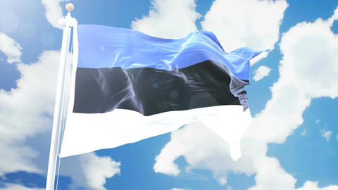 Realistic flag of Estonia waving against time-lapse clouds background. Seamless Animation