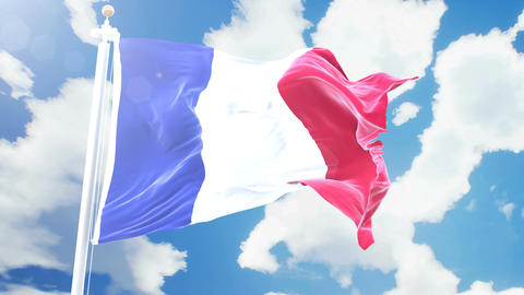Realistic flag of France waving against time-lapse clouds background. Seamless Animation