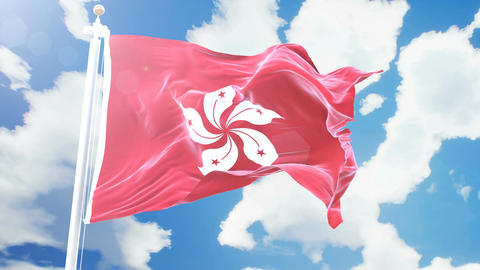 Realistic flag of Hong Kong waving against time-lapse clouds background. Animation