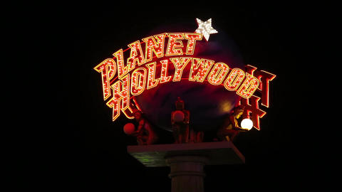 Planet Hollywood Casino Sign at Night close up Archivo