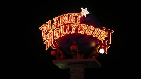 Planet Hollywood Casino Sign at Night close up ビデオ