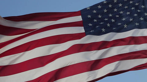 Close up of American flag waving Live Action