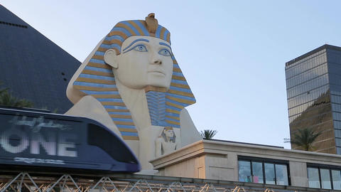 Monorail train over Luxor Hotel Footage