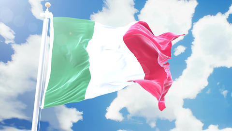 Realistic flag of Italy waving against time-lapse clouds background. Seamless Animation