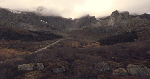 Epic view of country road and mountains in Norway - Lofoten Live Action