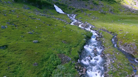 Aerial view of mountain stream in the valley. Norway Geiran Footage