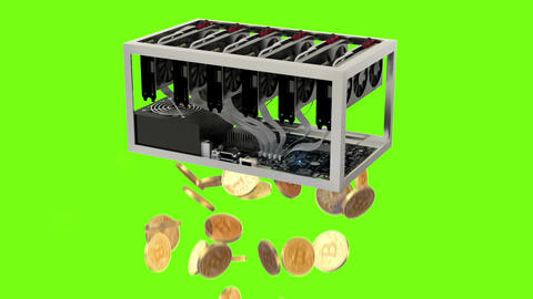 Mining, Bitcoin Farm with Graphic Cards Animation