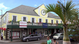 Bahamas Nassau jewelers in a yellow building in harbor district Footage