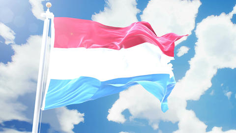 Realistic flag of Luxemburg waving against time-lapse clouds background. Animation