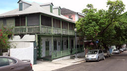 Bahamas Nassau historic colonial style house in downtown Footage