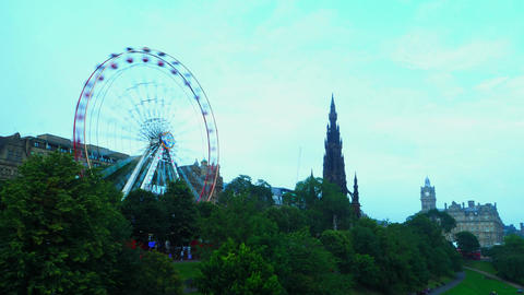Time Lapse of the Ferris Wheel and the Scott Monument Footage