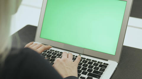 Beautiful Young Woman Model With Glasses And Lapton Work In Office Chroma Key stock footage