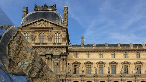 Louvre. The famous art museum in Paris. Pyramid. France Footage