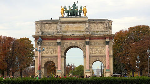 The Triumphal Arch (de Triomphe du Carrousel) in front of the Louvre museum, Par Footage