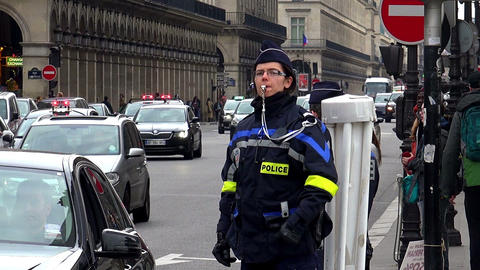 Police in Paris. A policeman keeps order Footage