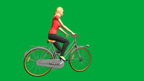 Pretty Blond Riding a Bike (Green Screen): Loop + Matte Animation