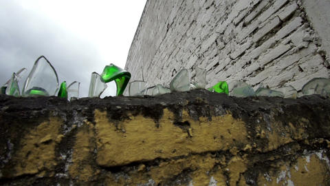 Broken Glass Topped Wall Handheld Live Action