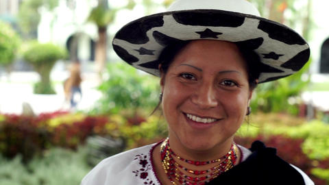 People Faces Ecuador Saraguro Woman Portrait Smile Footage