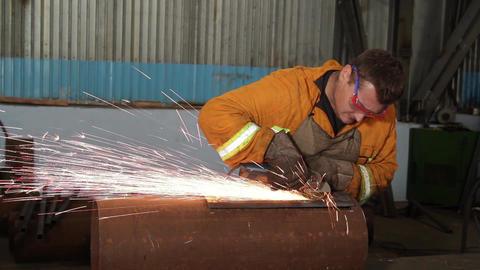 Skilled Worker making manual metal grinding and polishing Footage