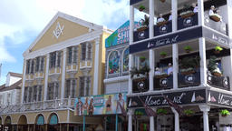 Bahamas Nassau nice pastel colored houses in harbor district Footage