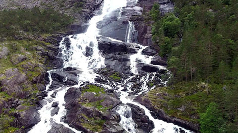 Aerial view of one of the waterfalls in Norway. Aerial view Live Action