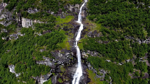 Norway waterfall. Aerial view Footage