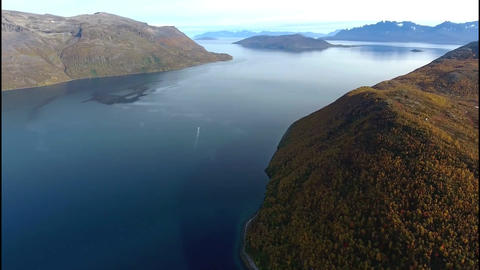 Flying over the lakes and fjords Footage