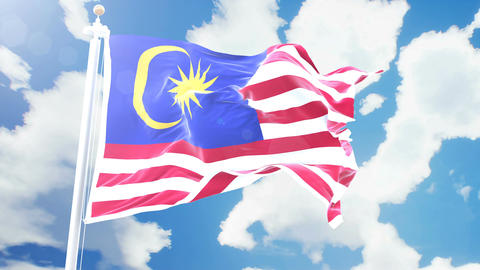 Realistic flag of Malaysia waving against time-lapse clouds background. Seamless Animation