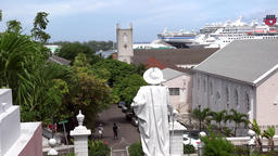 Bahamas Nassau Columbus looks downhill to harbor and the Anglican Church Footage