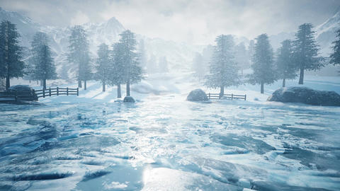 Snow mountain and ice lake. aerial view Animation