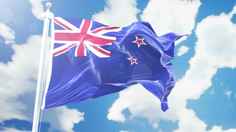 Realistic flag of New Zealand waving against time-lapse clouds background. Animation