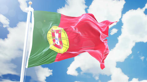 Realistic flag of Portugal waving against time-lapse clouds background. Seamless Animation