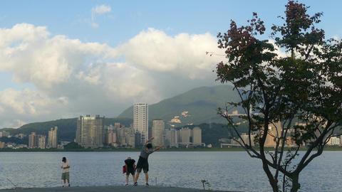 New Taipei City People's Riverside Bicycle Road Landscape, Taiwan 影片素材