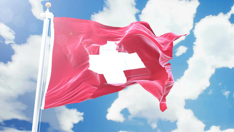 Realistic flag of Switzerland waving against time-lapse clouds background. Animation