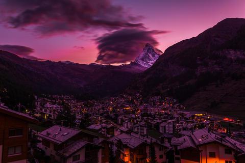 Matthorn and zermatt village Photo