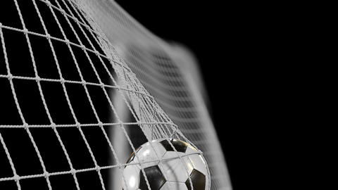 Soccer Ball flies into Goal Net in Slow Motion. Beautiful Football 3d animation Animation