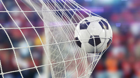 Beautiful Soccer Ball flies into Goal Net in Slow Motion. Football 3d animation Animación