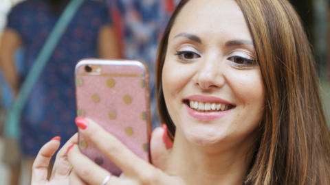 Closeup Beautiful Young Joyful Woman Takes Picture and Smiles Footage